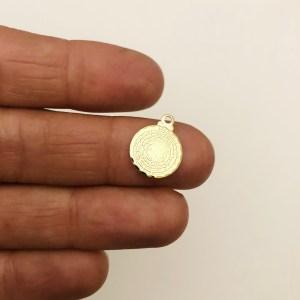 Dije bañado en oro 22k de 11mm Medalla Padre Nuestro LDB82104