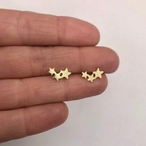 Aros bañados en oro 22k de 7mm 3 Estrellas LBO11659