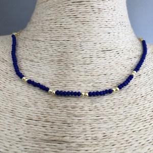 Collar bañado en oro de 43cm Cadena fina Cristal 2mm Azul Bolita 2.3mm LBO31366
