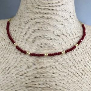 Collar bañado en oro de 43cm Cadena fina Cristal 2mm Rojo Oscuro Bolita 2.3mm LBO31374