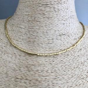 Collar bañado en oro de 40cm Mostacilla Tubo Liso 2x2mm LBO31398