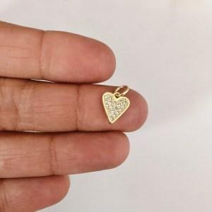 Dije bañado en oro 18k de 10mm Corazón Circones LDB82261