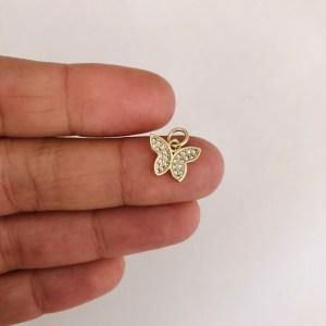 Dije bañado en oro 18k de 9mm Mariposa Circones LDB82265