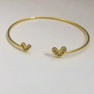 Pulsera bañada en oro 22k Esclava Corazón Cristales LBO51018