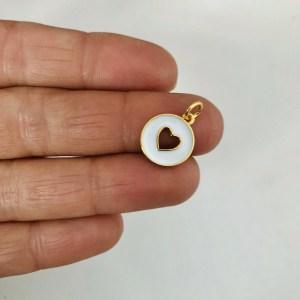 Dije bañado en oro 18k de 12mm Medallita Corazón Calado Esmalte Blanco LDB82478
