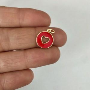 Dije bañado en oro 18k de 12mm Medallita Corazón Calado Esmalte Rojo LDB82481