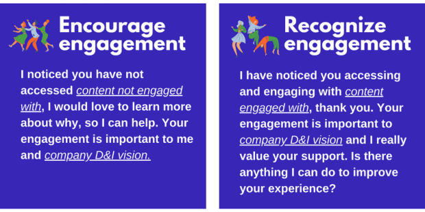 Encourage engagement:  I noticed you have not accessed (insert: content not engaged with), I would love to learn more about why, so I can help. Your engagement is important to me and (insert: company D&I vision)  Recognize engagement: I have noticed you accessing and engaging with (insert: content engaged with), thank you. Your engagement is important to (insert: company D&I vision) and I really value your support. Is there anything I can do to improve your experience?