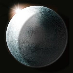 Snowball Earth - A rising sun over a frozen earth with a distant moon. Artist Karen Carr.