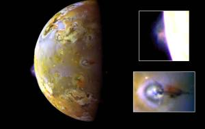 Close-up of volcanoes on Io