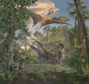 Dinosaur extinction: Panorama of dinosaur life with Earth's dense atmosphere and giant dinosaurs