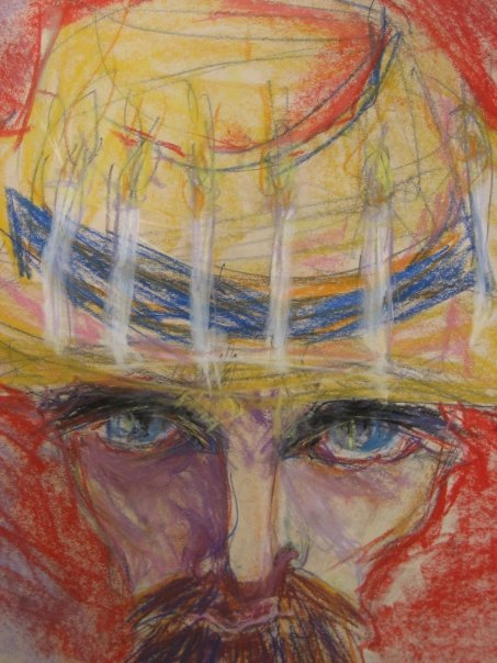 """Detail: Study For """"Portrait of Vincent Van Gogh (with Candles)"""". 2008. Chalk Pastels and Charcoal on Newsprint. 18"""" x 24""""."""