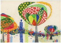 """Aditi Raychoudhury. Land of Plenty (In Primary Colors). 2009. 17"""" x 14"""". Colored Pencils on Tracing Paper."""