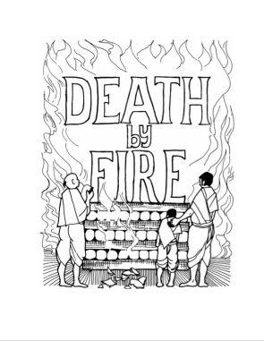 """Aditi Raychoudhury. Death By Fire. 2004. Pen and Ink. 8 1/2"""" x 11""""."""