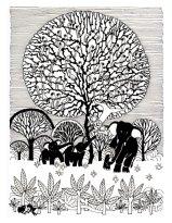 Aditi Raychoudhury. Tree of Life (Frontispiece. Punchtantra by Gautam Bhatia. Penguin, 1998). 1996. Pen and Ink.