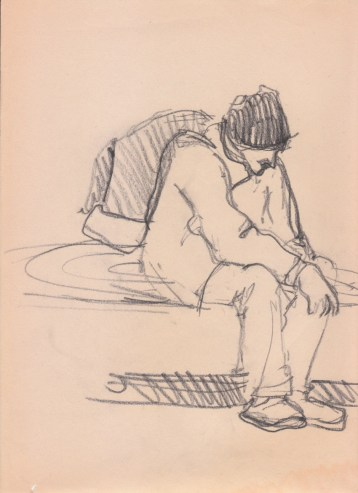 Aditi Raychoudhury. Waiting for BART. 2000???. Pencil on Newsprint.