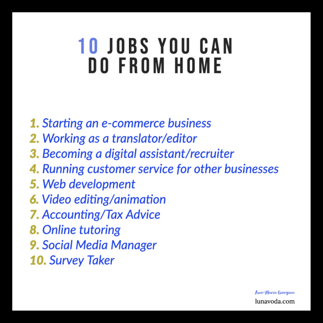 10 jobs you can do from home