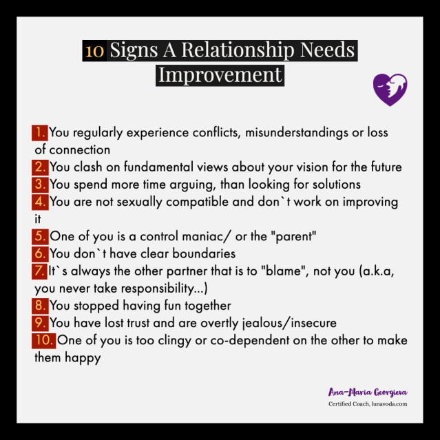 10 signs your relationship needs improvement