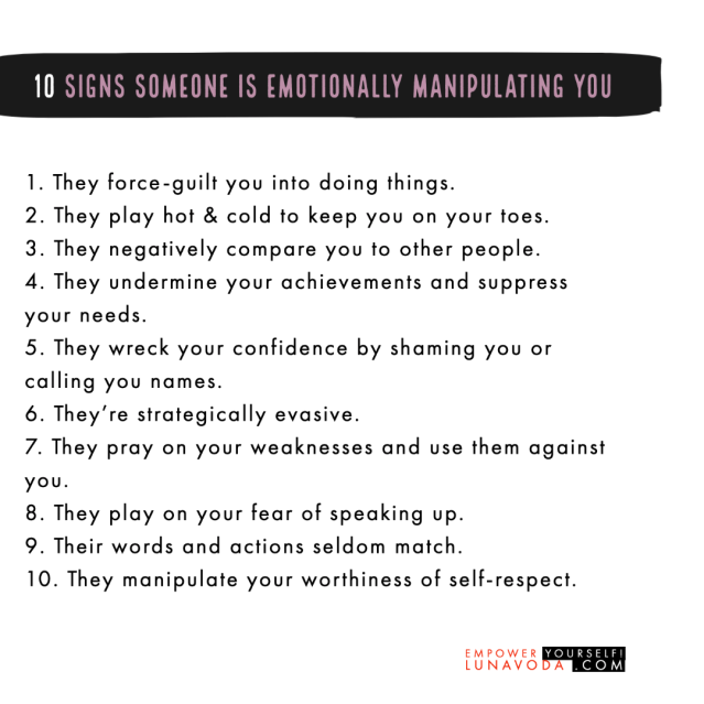 10 signs someone is manipulating you