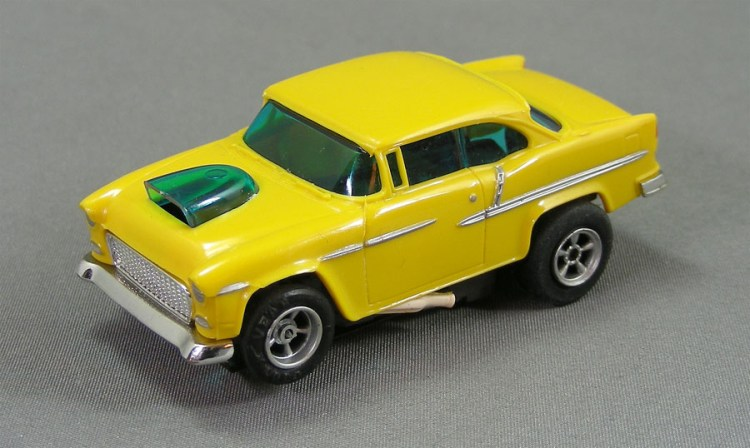 Yellow Slot Car with a Classic Design