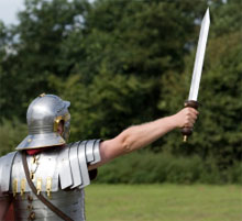 soldier in armor holding sword