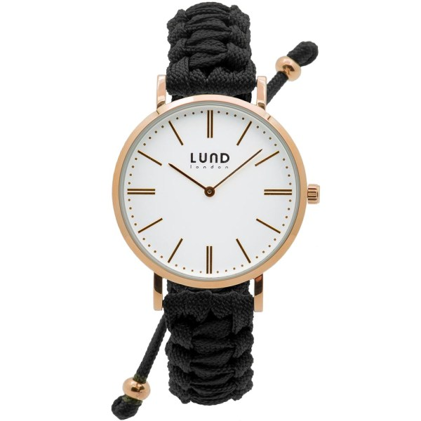 Black Braided Watch with Rose Gold Clasp - 39mm