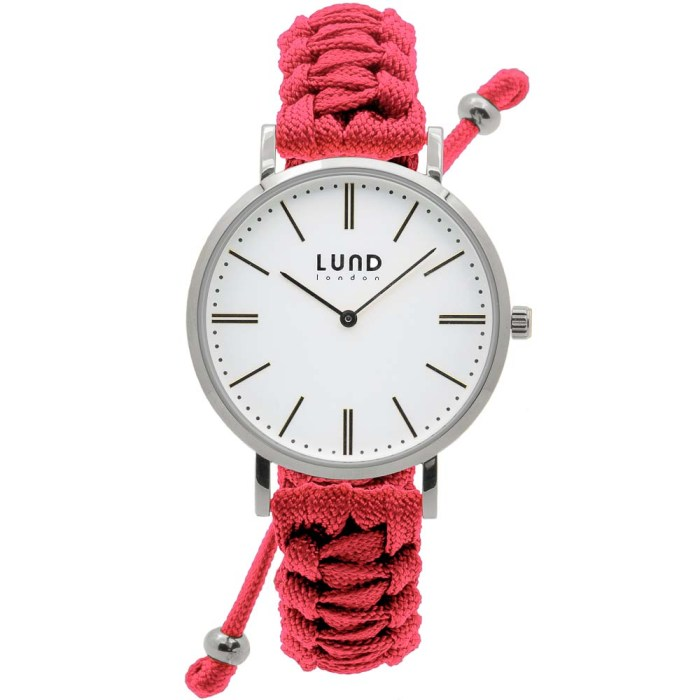 Coral Braided Watch with Silver Clasp - 34mm
