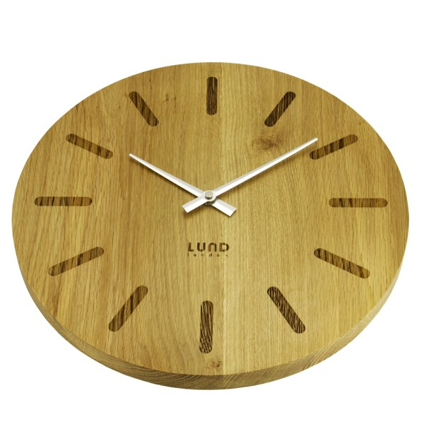 Pure Oak 35cm Wall Clock with Markers - 6025