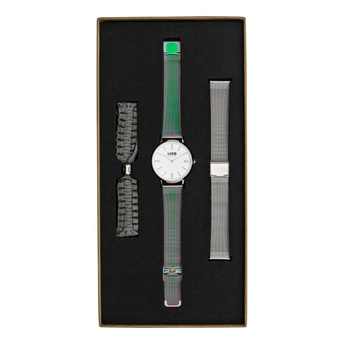 Set No 6 -Silver 39mm Watch with Oil Slick, Silver Mesh & Grey Braided Straps
