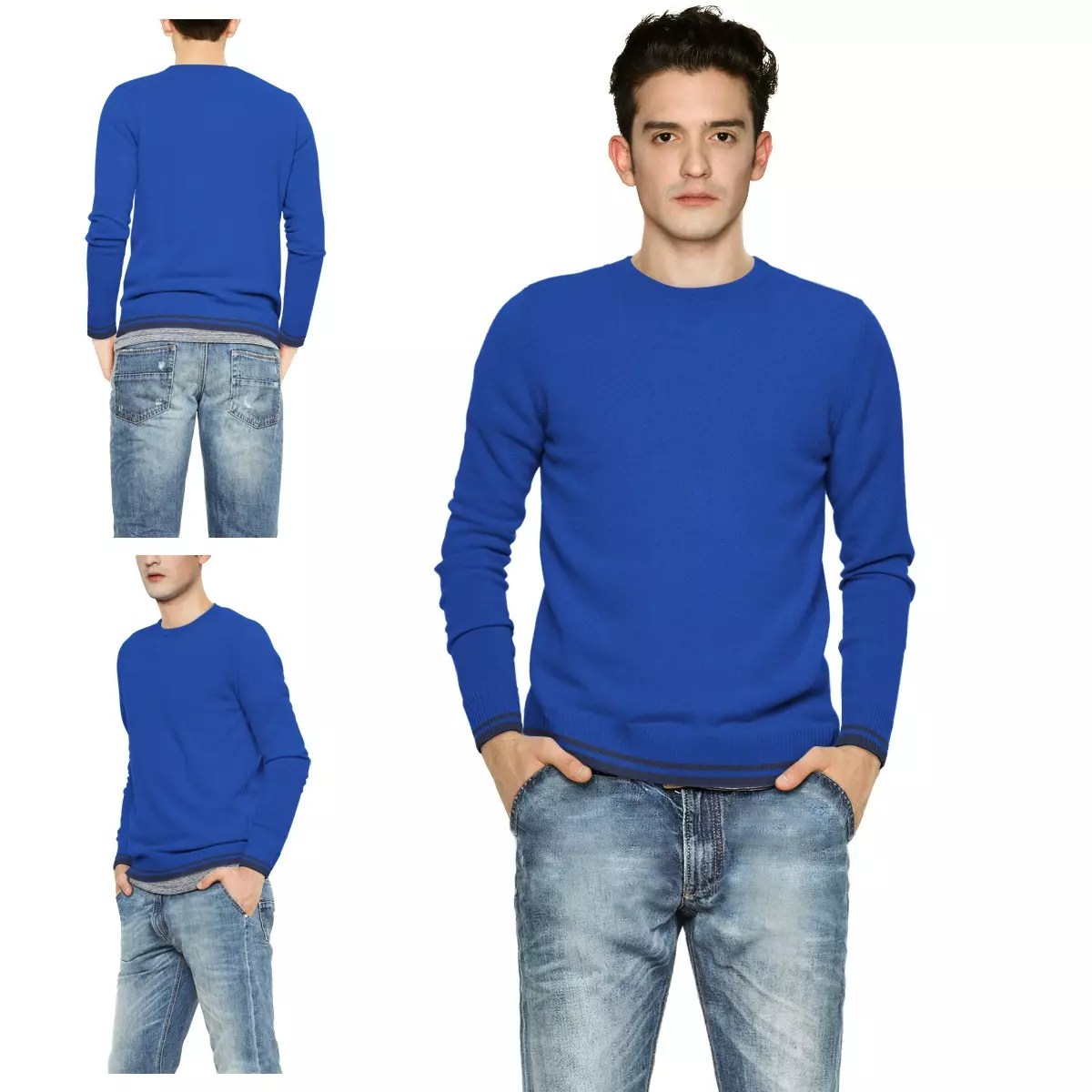 Taille pull bleu