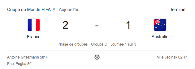 Résultat 2-1 FRANCE – AUSTRALIE, COUPE DU MONDE FOOTBALL 2018 RUSSIE #CDM2018 #FRAAUS #ALLEZLSBLEUS