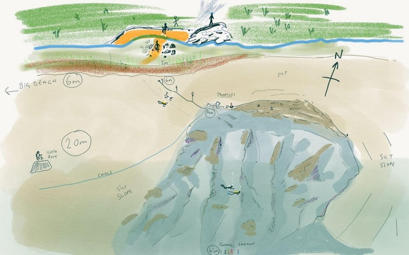 Wastwater Pinnacles Dive Site. Map produced by Rob Whittaker
