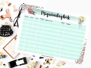 planeringsblad migrändagbok