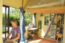 Australian d'Arcy Lunn's one room, 10sqm house built by him and volunteers as part of his Happy Simply holistic lifestyle project in Paekakariki.