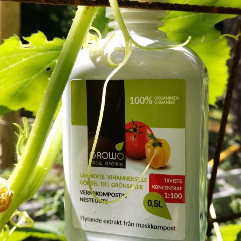 GROWO vermikompostinuute ravitsee kasveja