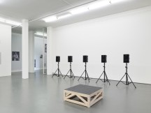 Sharon Hayes, Everything Else Has Failed! Don't You Think It's Time For Love?, 2007, audio equipment, spray paint on paper, wood platform, courtesy the artist and Tanya Leighton, Berlin, Witte de With Center for Contemporary Art, 2018, photo by Kristien Daem.