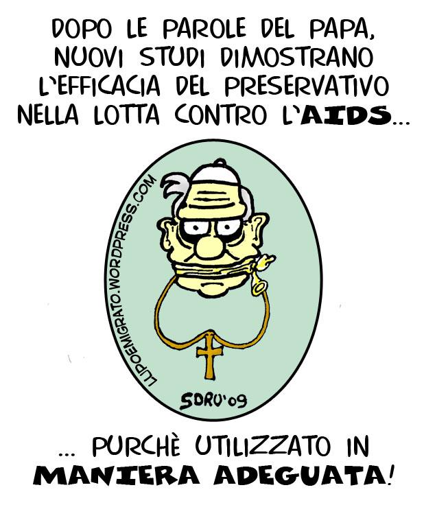 Vignetta Papa Benedetto XVI no ai preservativi AIDS