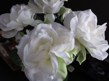 Title: White Roses: Peace & Serenity. Caption: Despite the turmoil going on inside because of lupus, when I look at something beautiful like these flowers, it helps me to bring out inner feelings of peace and serenity. Photographer: Judy