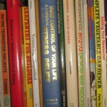 Title: Self Help. Caption: I have a lot of How-To books and I've read them all. But the book I need now is the blue stress-relief book. The answer is here somewhere but I just can't find it. Photographer: Steve Edelstein