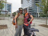 Title: Challenging Myself Caption: I'm having fun getting to know Brooklyn through Citibike with old and new friends. I am facing my fears at the same time. The fears are bike riding in New York City streets because of the traffic and being out in the sun. Because I have foot issues due to lupus, bicycling is the perfect exercise. Photographer: V.M.