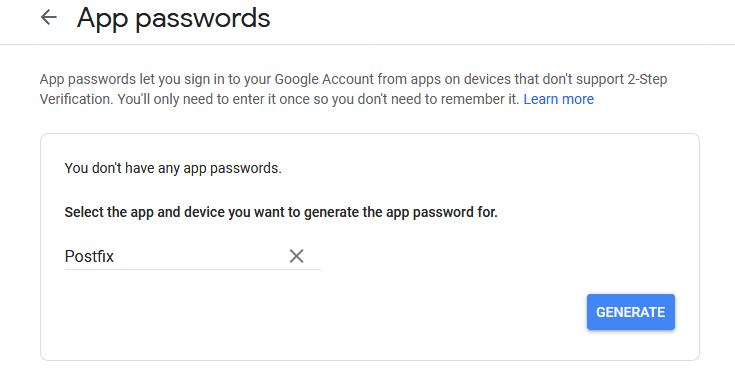 Generate App Passwords