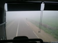 On the road in a bus