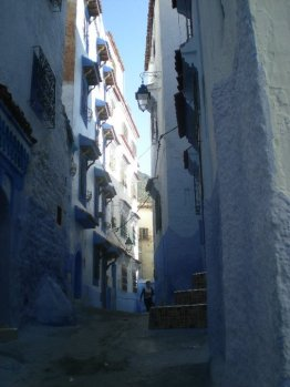 A street of Chefchouen. You can't really see the blue, but a search in google will show it!