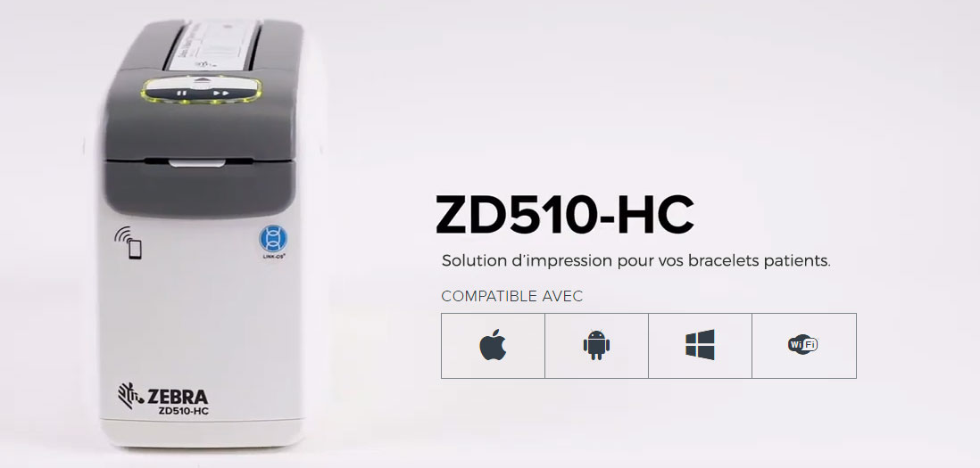 Imprimante ZEBRA ZD510-HC pour bracelets patients ou évenementiels