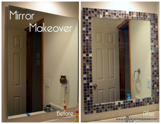 DIY Mirror Makeover - Bathroom Ideas