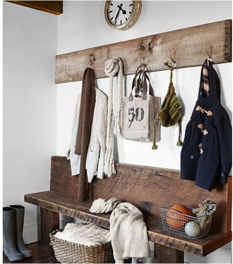 Gorgeous rustic bench idea for an entry way
