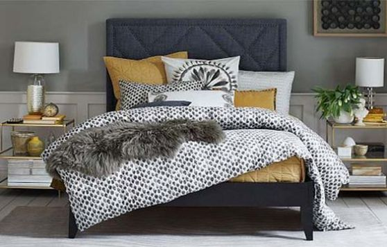 Grey and Yellow Bed Set - Stamped Dot Duvet