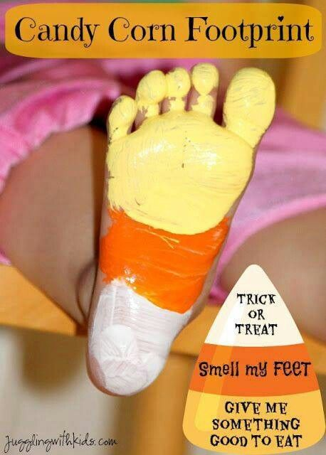 Candy Corn Foot Prints - Toddler Crafts