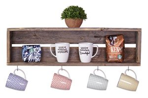 DAKODA LOVE - Rustic Coffee Bar Floating Shelf, USA Handmade Reclaimed Wood (Barnwood)