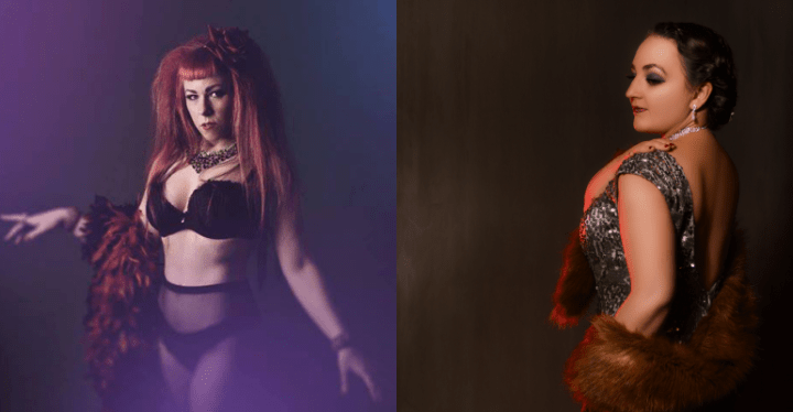 On the Left a red haired woman poses in her under wear and feather boa. On the right a burnette poses looking over her shoulder in a silver sequin dress and fur stole