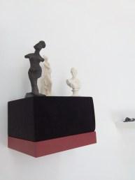 The Agave Figurines, pit-fired clay, museum ephemera, velvet, shelf